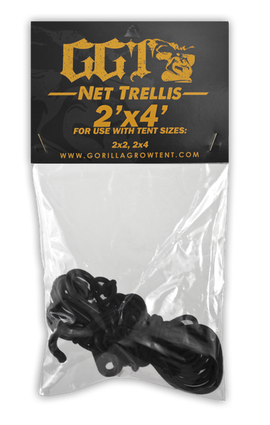 GGT Net Trellis - Gorilla Grow Tent It's a jungle out there. These perfectly sized durable nylon trellises feature industrial grade plastic hooks that easily attach to any diameter pole, creating a sturdy support structure that will effortlessly bear the weight of even the heaviest of fruits and flowers. The stretchable nylon allows for easy removal for reuse after harvest.