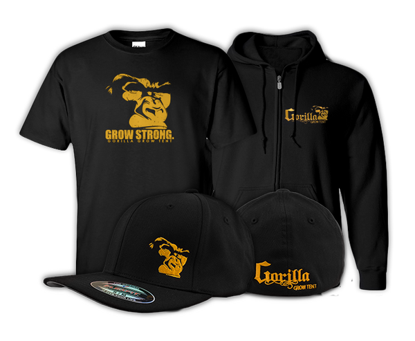 Gorilla Grow Tent Growers Gear.  Want to be outfitted from head to toe? We've got you covered.  Now you can get all the great Gorilla Grow Tent gear in one awesome package!  Each package comes with a Gorilla Flex Fit Hat, Logo Tee and Premium Hoodie.  Choose your size from the drop down menu and start growing in style today!