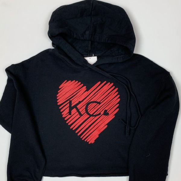 Scribble KC heart | Black Hoodie