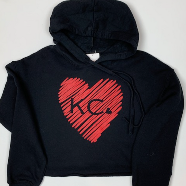 Scribble KC heart | Black Crop