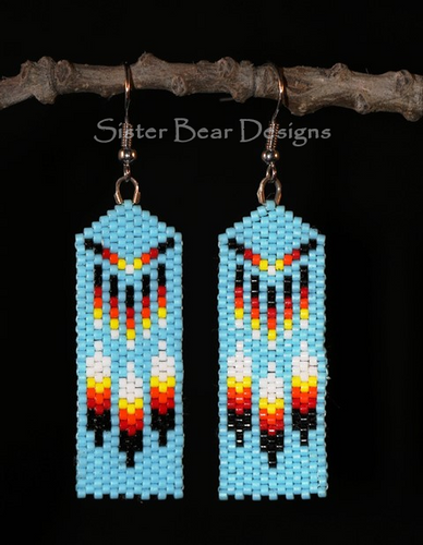 Three Feather Banner Earrings
