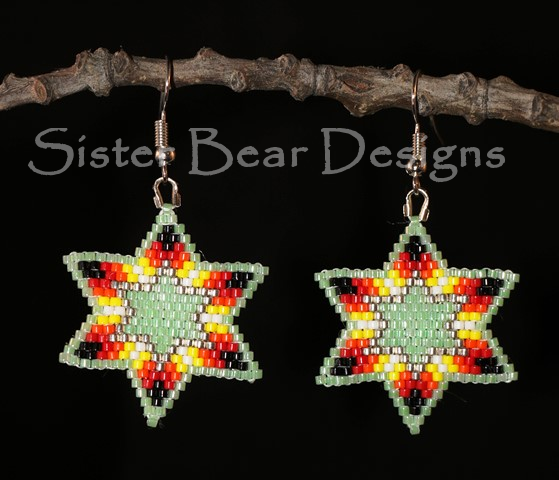 Green with Fire Lakota Star Earrings