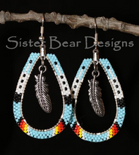 Load image into Gallery viewer, Large Teardrop Feather and Fire Earrings