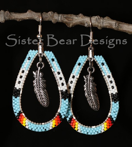 Large Teardrop Feather and Fire Earrings