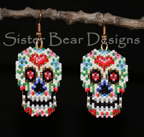 Sugar Skull Earrings - Fully Beaded!