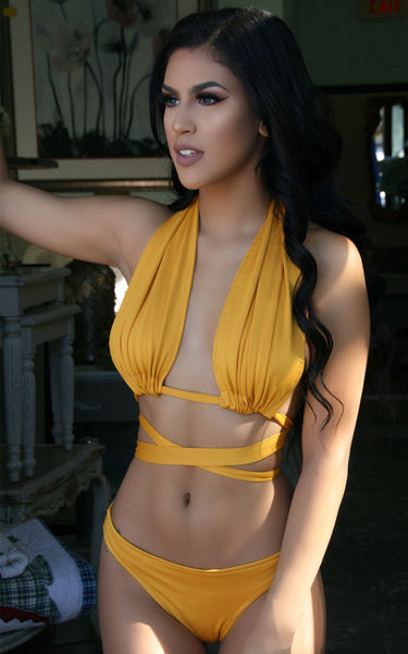 """TRIFECTA"" Mustard Multi Wear Bikini"