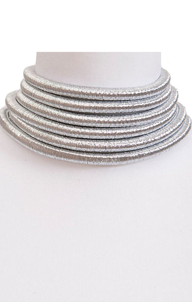 Layered Silver Tube Choker