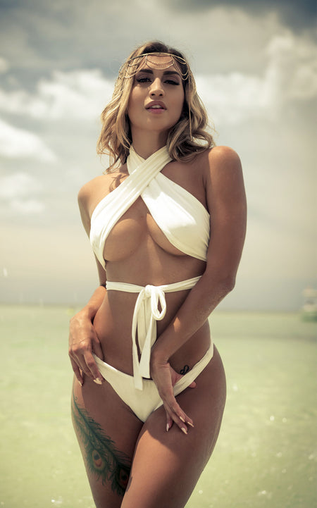 """MOONLIGHT"" White Multi-Wear Bikini"