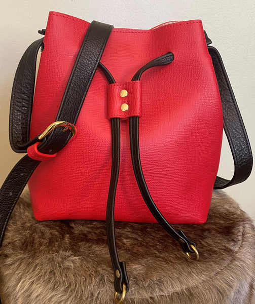 Lipstick Red Crossgrain Bucket Bag