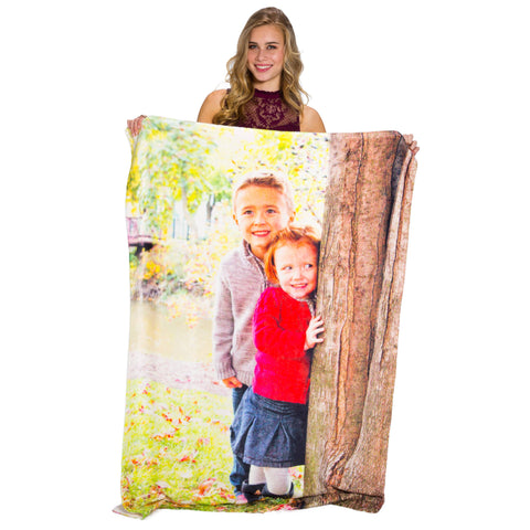 "Plush Fleece Photo Blanket - 40"" x 60""-PersonalThrows"