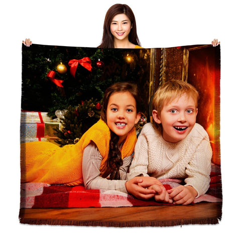 "HD Woven Photo Blanket - 60"" x 54"" (Large)-PersonalThrows"