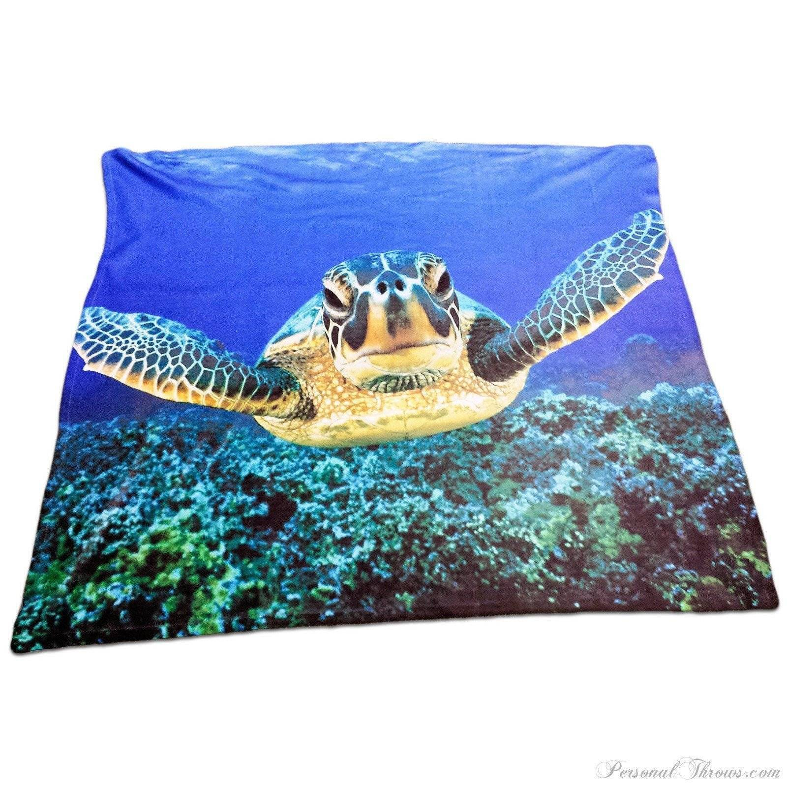 "Designer Gifts - Aquatic Sea Turtle 50"" X 60"" Polar Fleece Throw Blanket"