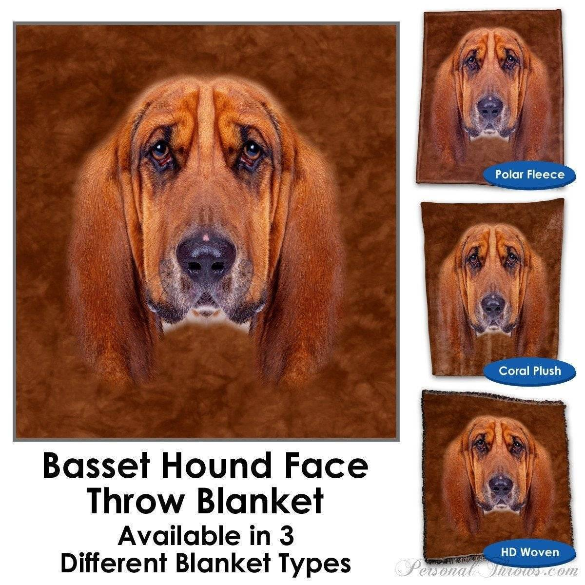 Designer Gifts - Basset Hound Face Throw Blanket