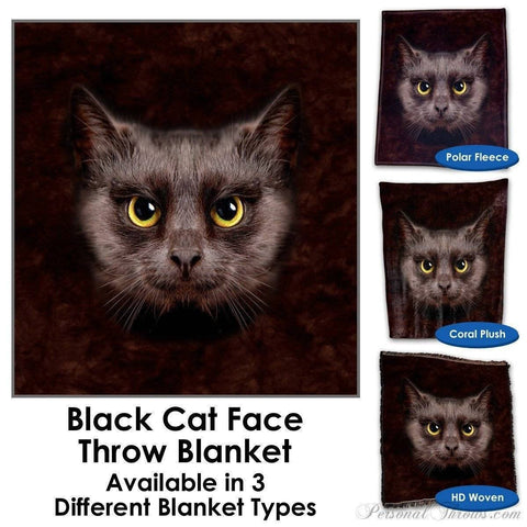 Designer Gifts - Black Cat Face Throw Blanket