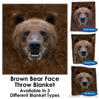 Designer Gifts - Brown Bear Face Throw Blanket