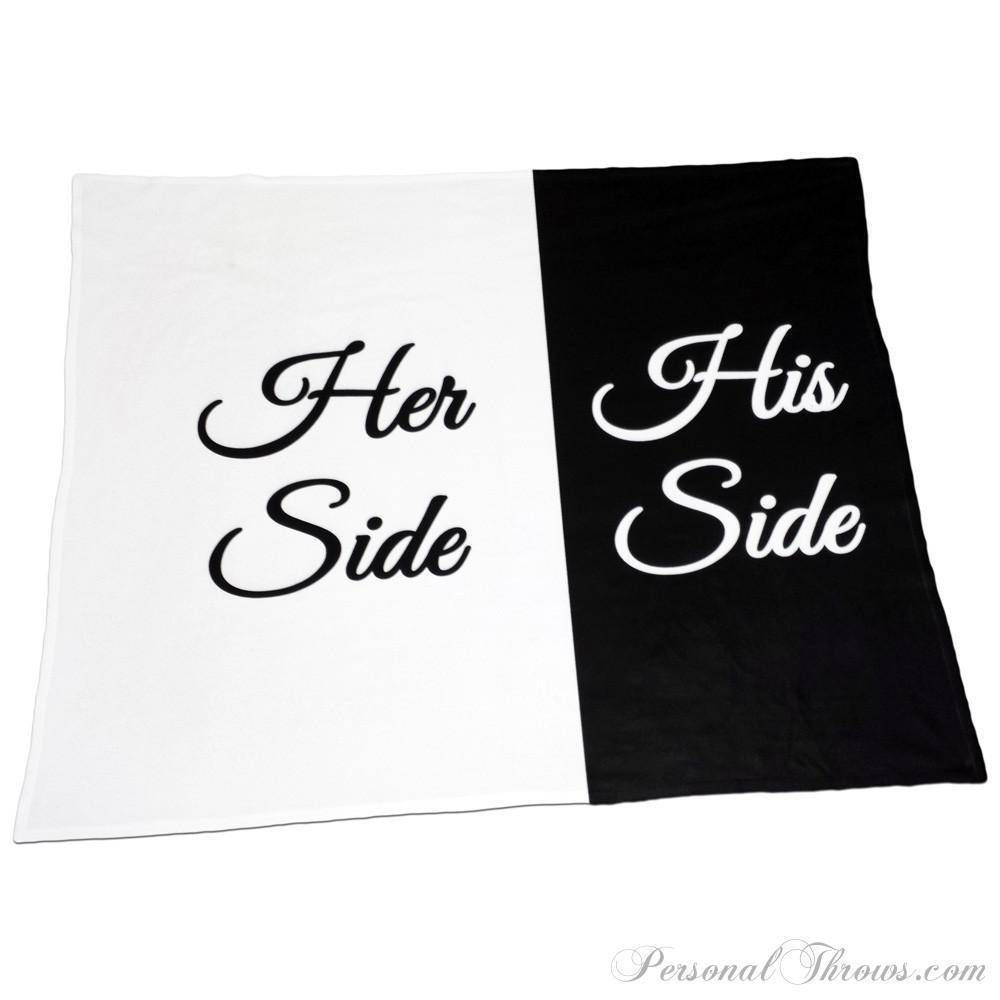 "Designer Gifts - His Side, Her Side – 50"" X 60"" Polar Fleece Throw Blanket"