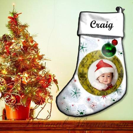 "Holiday Gifts - 17"" Photo Christmas Stocking"