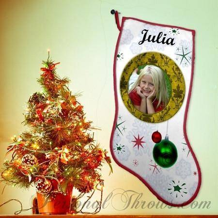 "Holiday Gifts - 8"" X 21"" Photo Christmas Stocking"