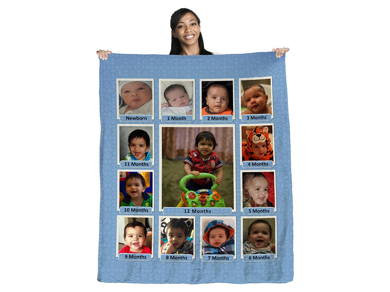 "Baby's First Year Photo Collage 50"" x 60"" Coral Plush Fleece Blanket"