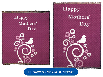 Mothers' Day Abstract Flowers & Birds - Throw Blanket / Tapestry Wall Hanging