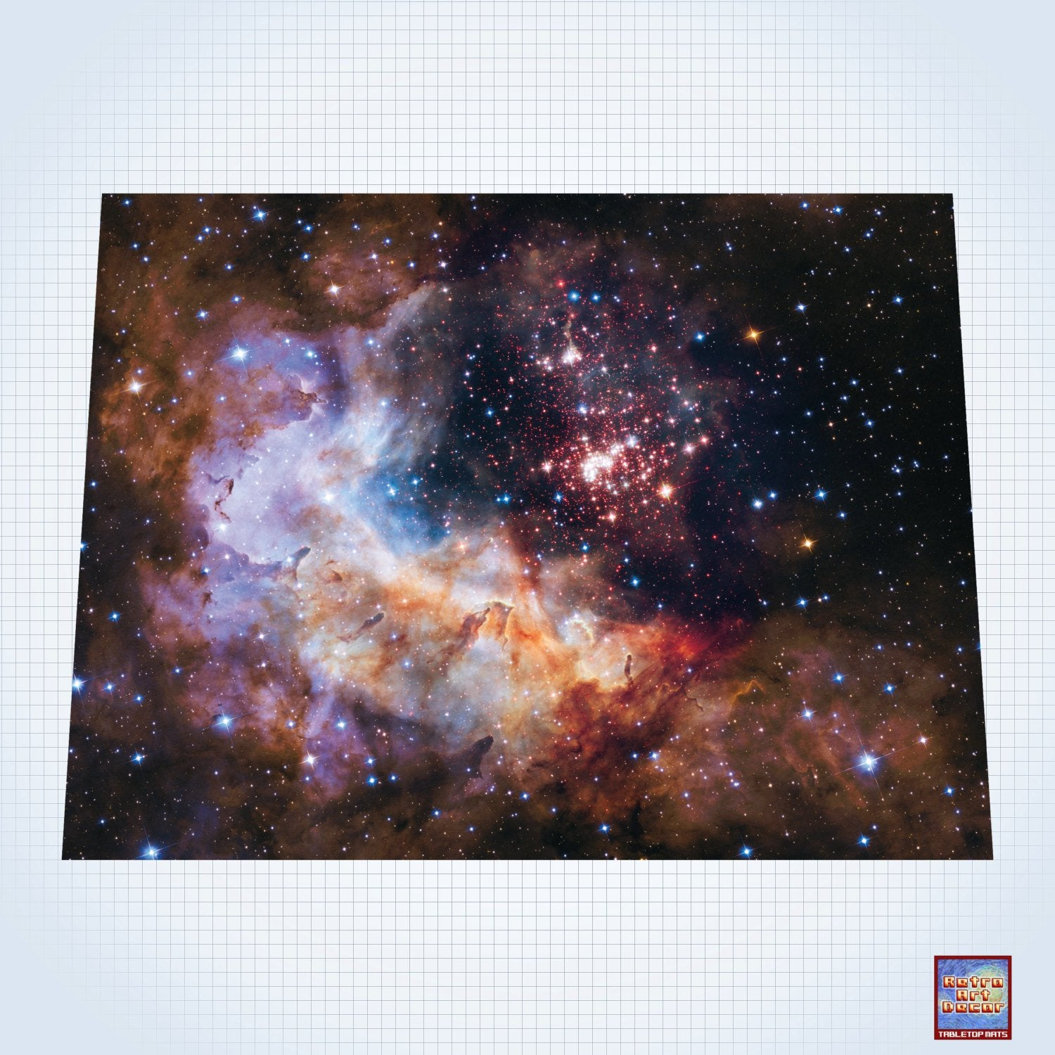 "Galaxy, Celestial Fireworks - #GM102 - 60"" x 80"" (4' x 6' plus) Fleece Table Top Gaming Mat"