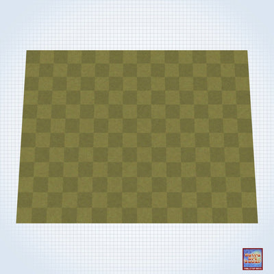 "Checkered Grassy Field - #GM305 - 60"" x 80"" (4' x 6' plus) Fleece Table Top Gaming Mat"