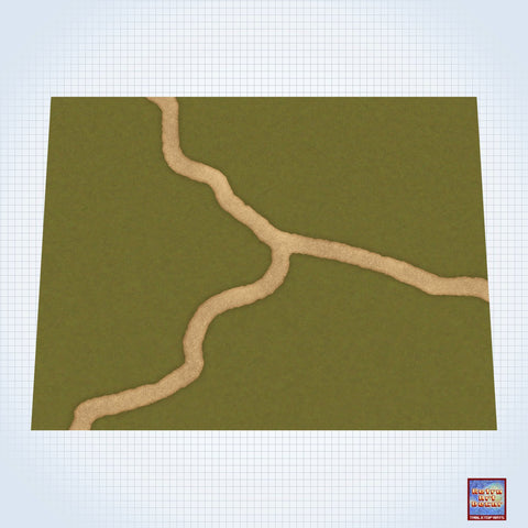 "Fork in the Road on a Grassy Field - #GM301 - 60"" x 80"" (4' x 6' plus) Fleece Table Top Gaming Mat"