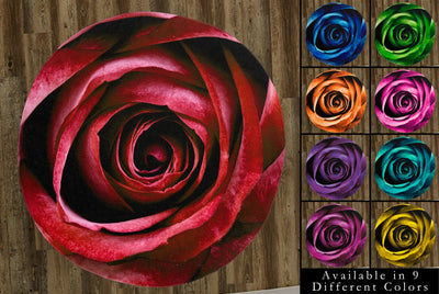 "Close-Up of a Rose Blossom, 60"" Round Microfiber Beach Towel"