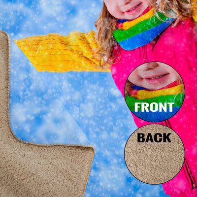 "Personalized 60"" x 50"" Photo / Image Sherpa Throw Blanket"