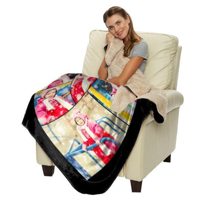 "Personalized 60"" x 50"" Photo Collage Sherpa Throw Blanket"