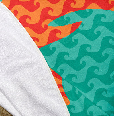 "Dolphin Wave Pattern 60"" Round Microfiber Beach Towel"