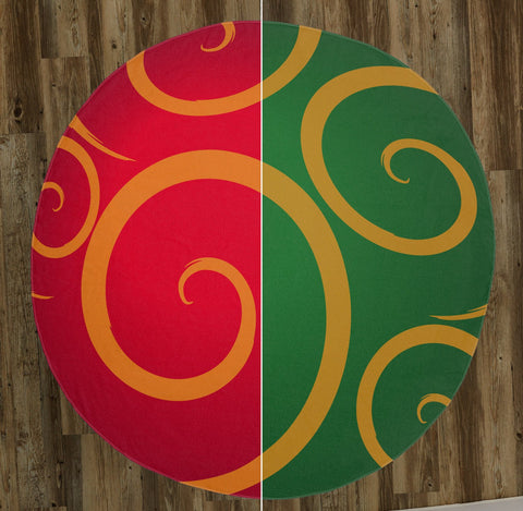 "Christmas Ornament (Available in Red & Green) 60"" Round Microfiber Beach Towel"
