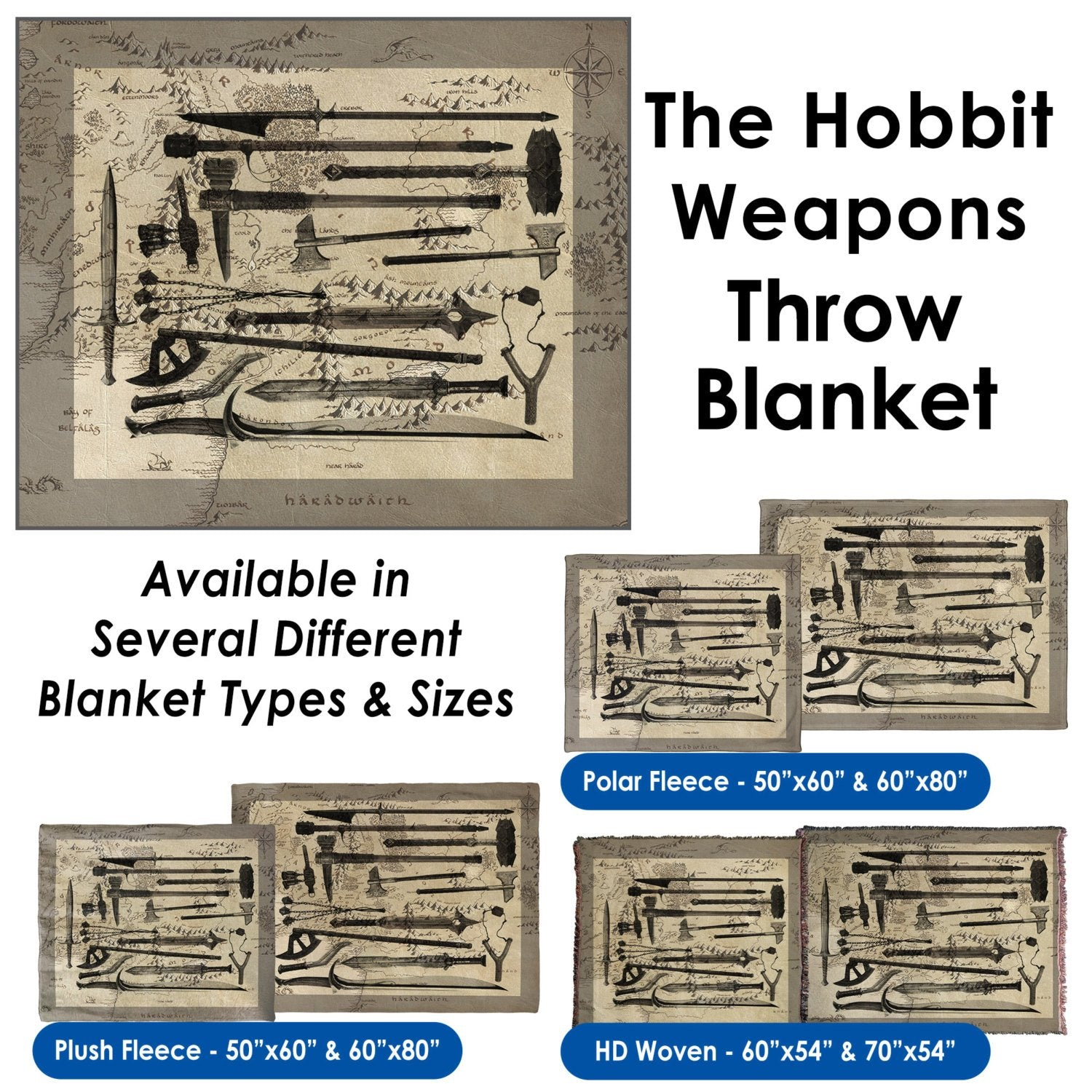 The Hobbit Weapons Throw Blanket / Tapestry Wall Hanging