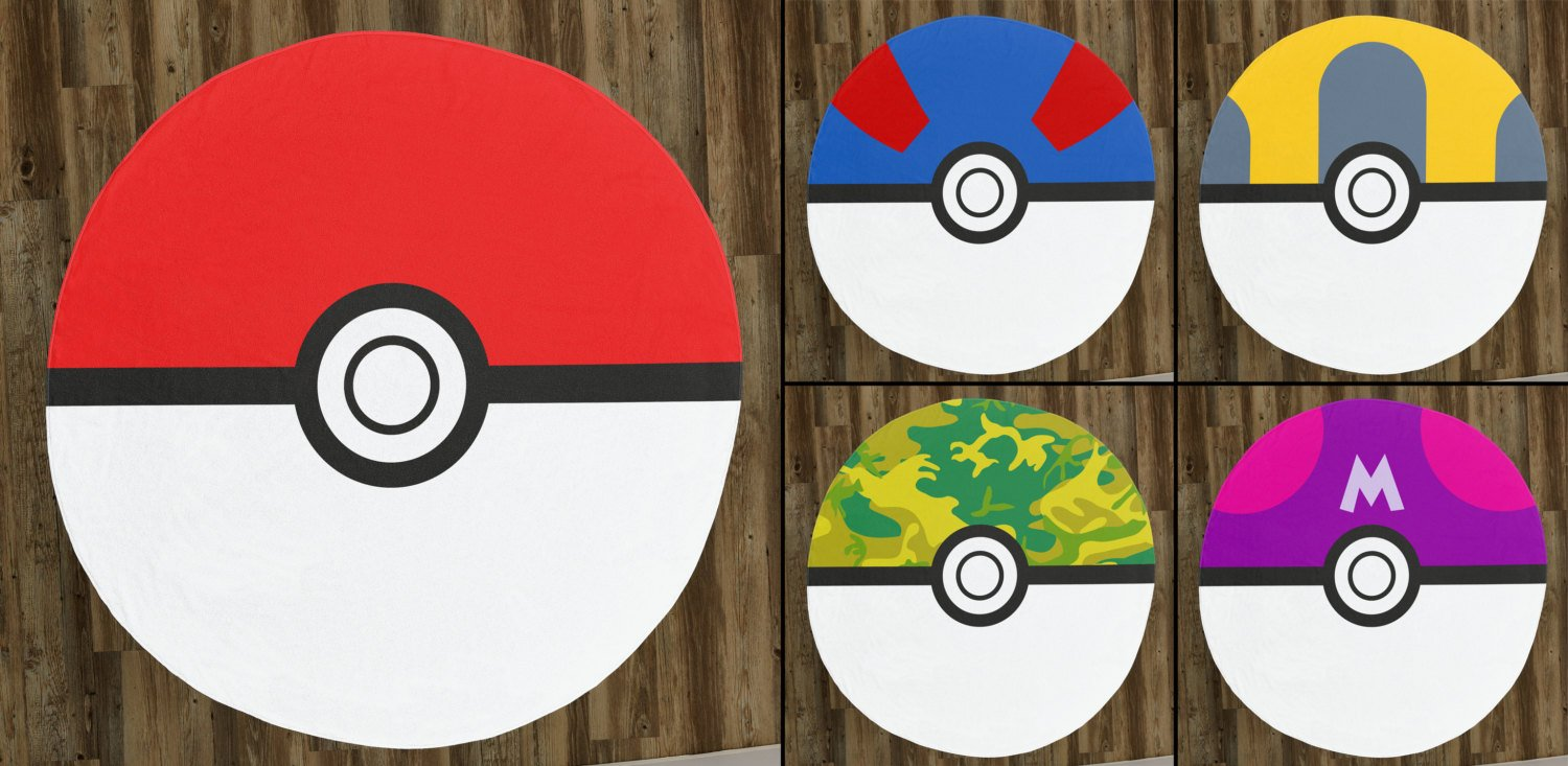 "Poke Ball 60"" Round Microfiber Beach Towel"