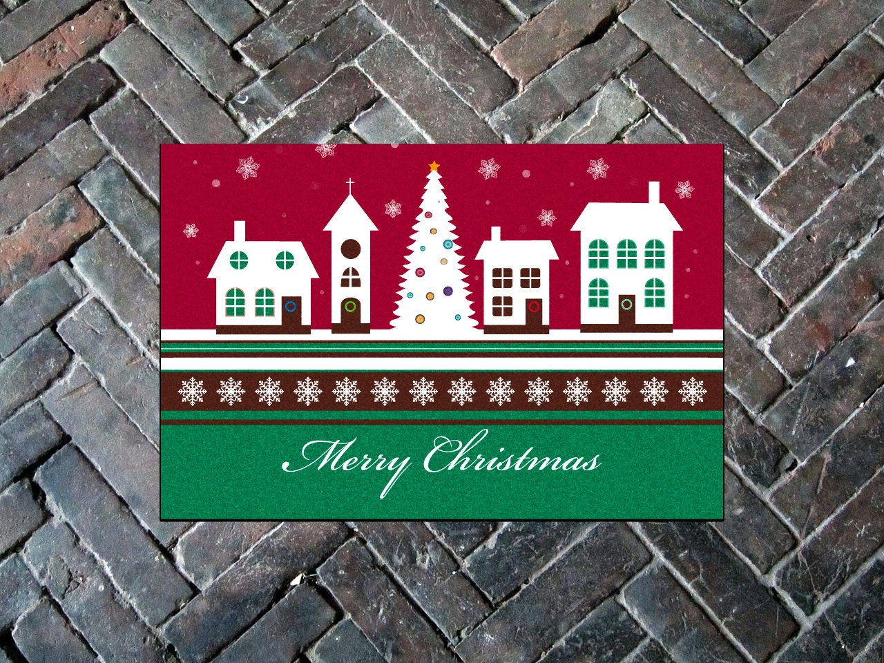 "Merry Christmas Door Mat - 24"" x 30"" (Available in English AND Spanish!)"