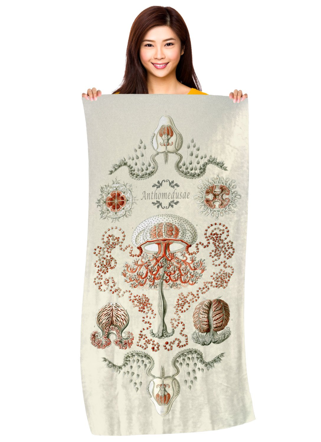 "Artistic Jellyfish Illustration- ""Anthomedusae by Haeckel""- Microfiber Beach Towel"