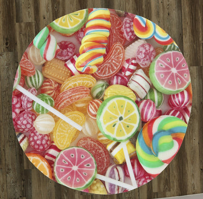 "Candy Candy Everywhere 60"" Round Microfiber Beach Towel"