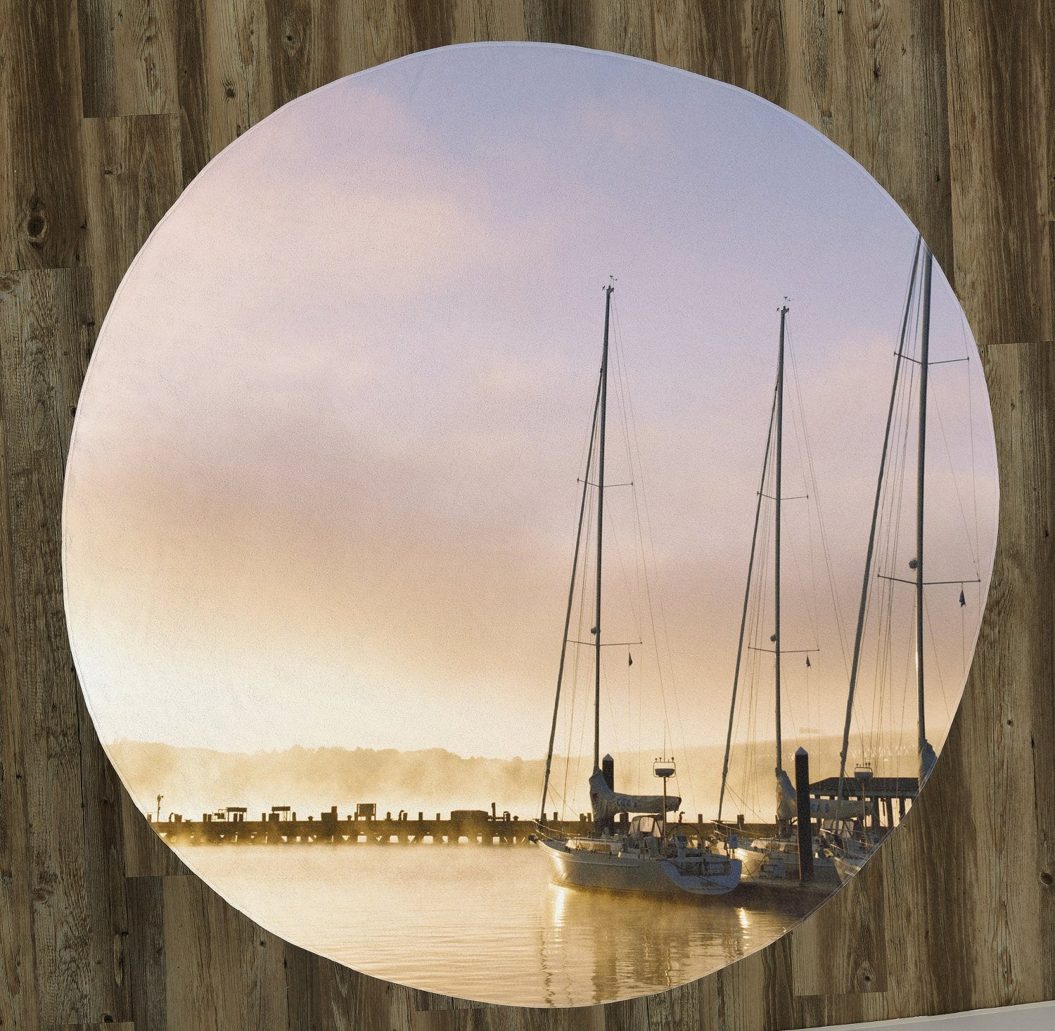 "Sailboats at Sunset 60"" Round Microfiber Beach Towel"