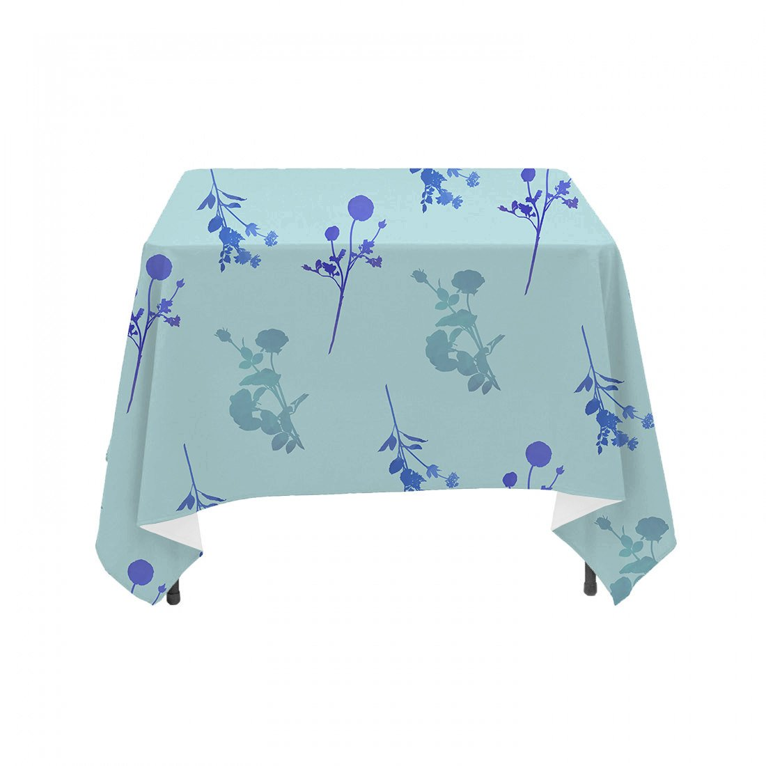 Blue Wildflower Watercolor Floral Stems- Linen Table Cloth