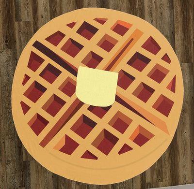 "Illustrated Buttered Waffle 60"" Round Microfiber Beach Towel"