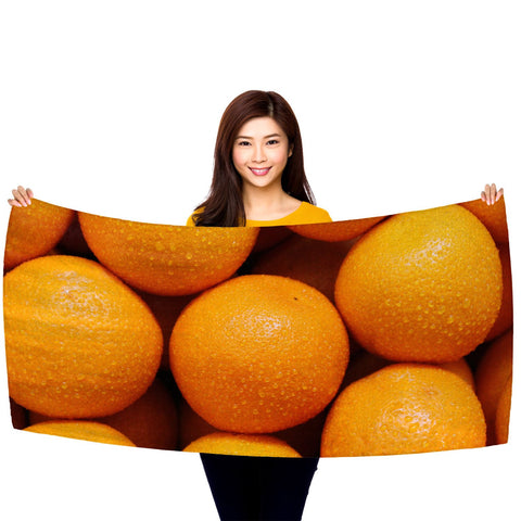 "Oranges - 30"" x 60"" Microfiber Beach Towel"