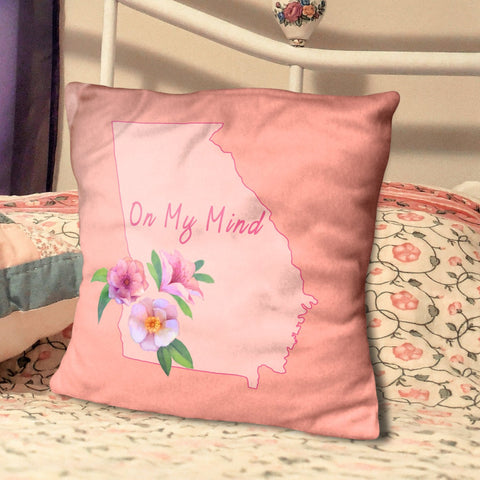 "Georgia On My Mind- State Pride Floral Pillow 20"" Spun Polyester Pillow"