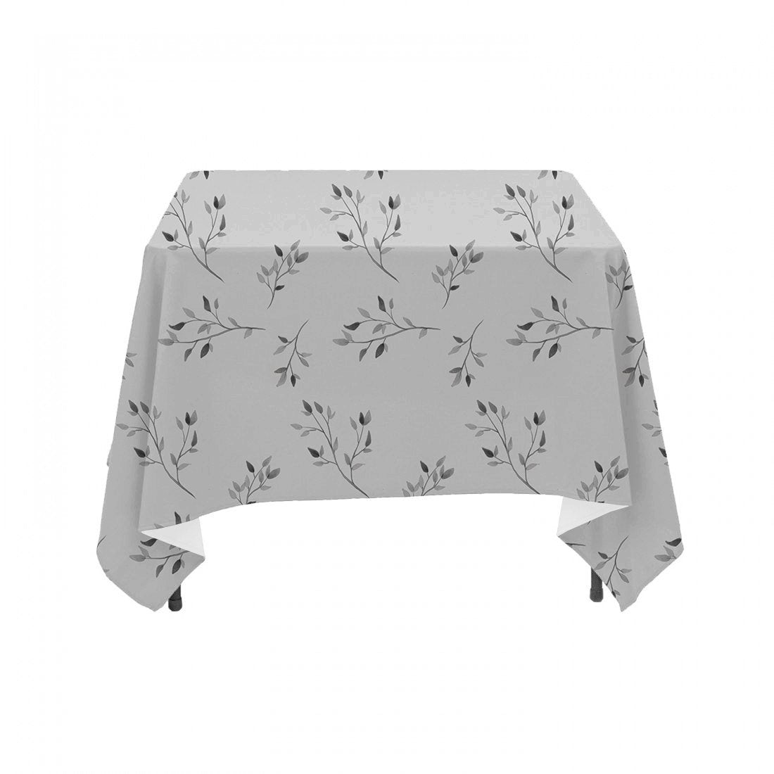 Neutral Grayscale Watercolor Floral Branches- Linen Table Cloth