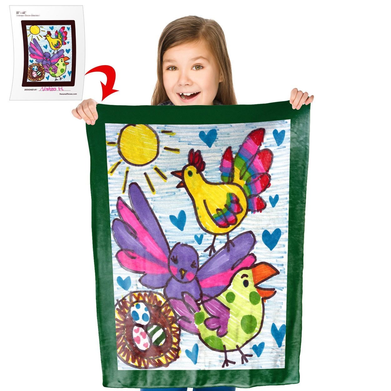 Turn Your Child's Drawing into a 30″ x 40″ Plush Fleece Mini Blanket