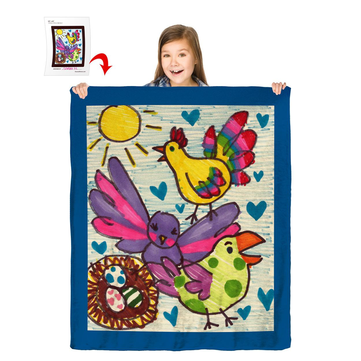 Turn Your Child's Drawing into a 50″ x 60″ Plush Fleece Blanket