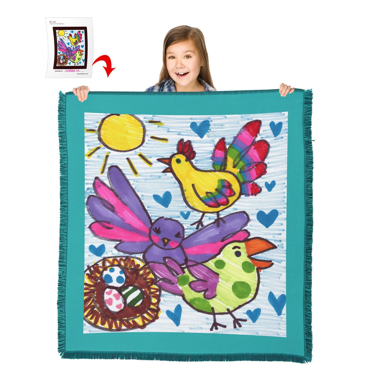 "Turn Your Child's Drawing into a 60"" x 54"" HD Woven Throw Blanket"