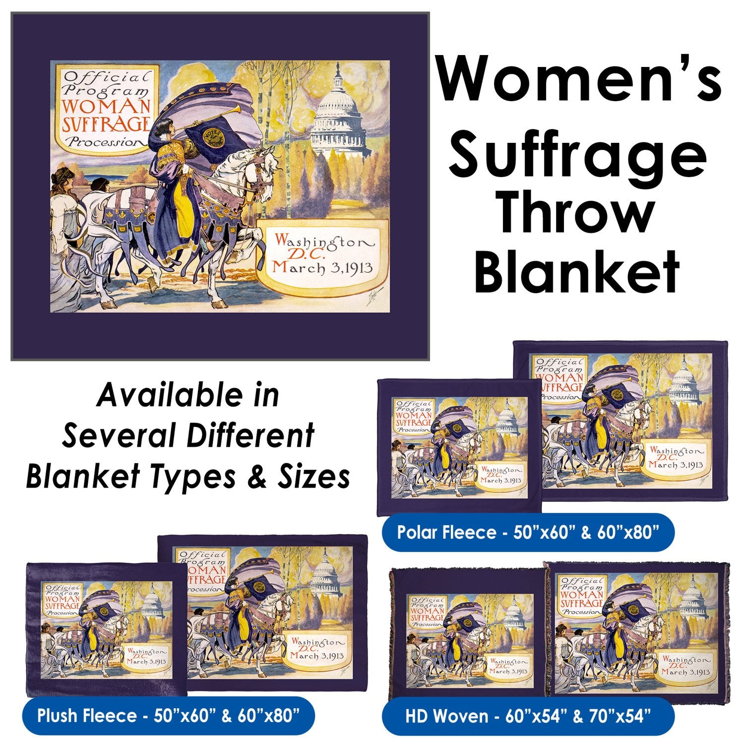 Women's Suffrage Historic Feminist Women's March - Throw Blanket / Tapestry Wall Hanging