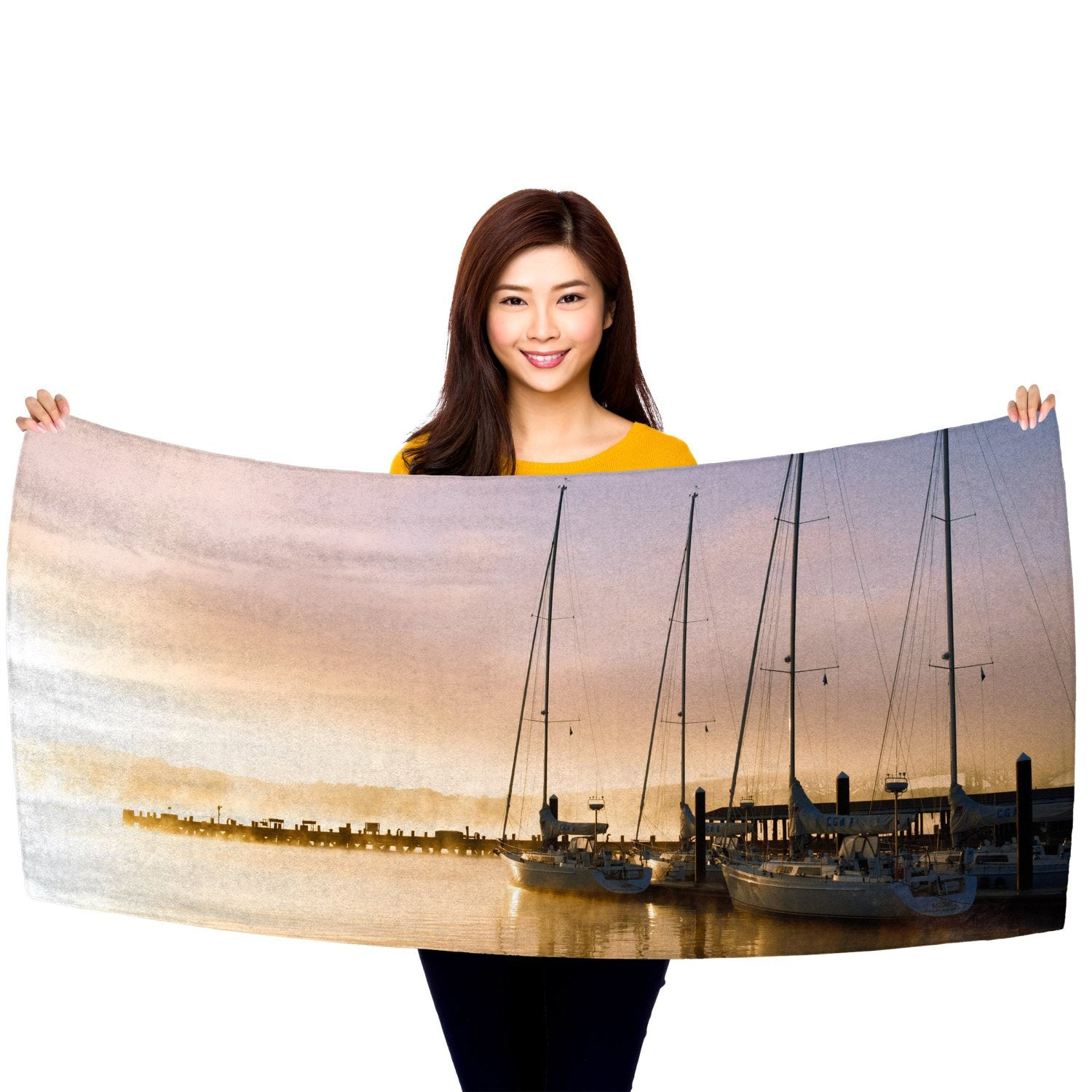 "Sailboats at Sunset - 30"" x 60"" Microfiber Beach Towel"