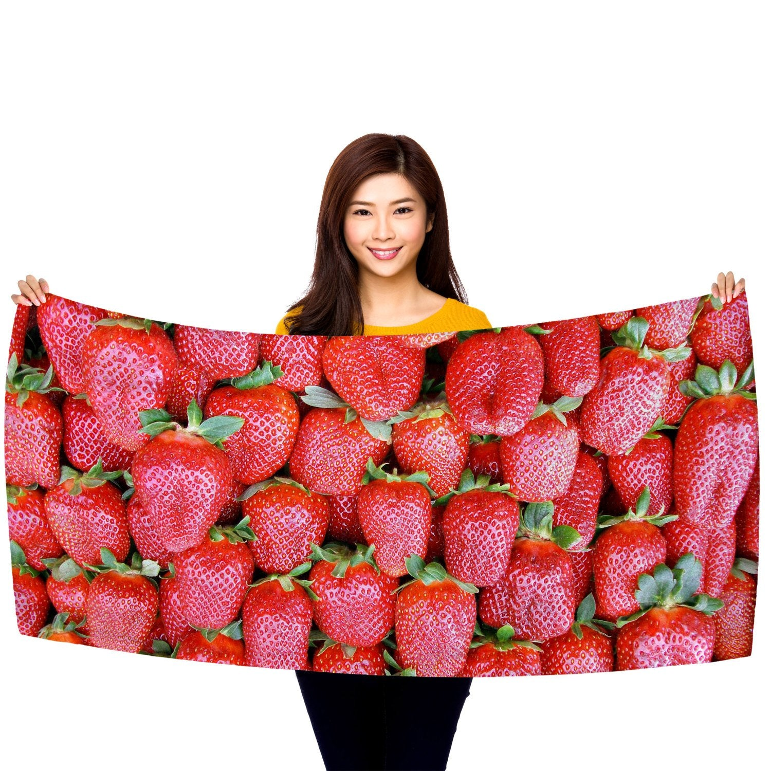"Strawberries - 30"" x 60"" Microfiber Beach Towel"