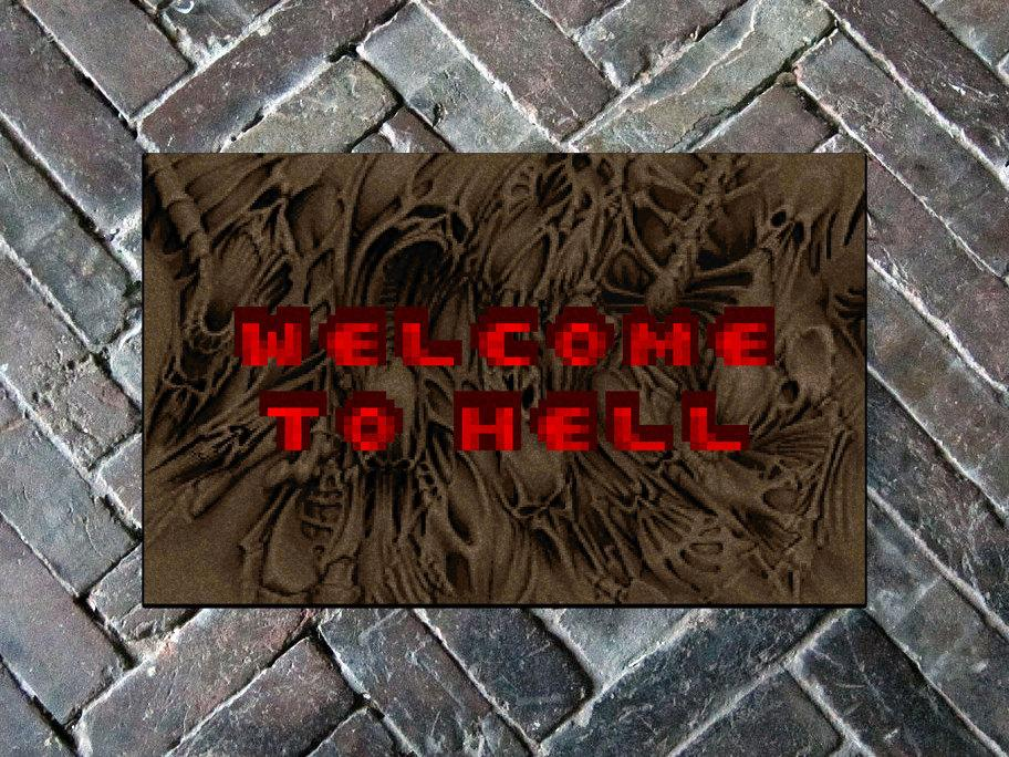 "DOOM ""Welcome to Hell"" 18"" x 24"" Doormat Floormat"